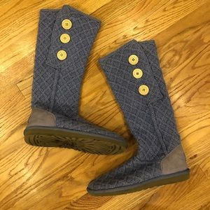 Ugg cardy sparkle purple sweater boots 11 foldover